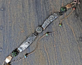 "Delicate, handmade bracelet of salvaged antique parts by fancifuldevices- ""Interlunation"""