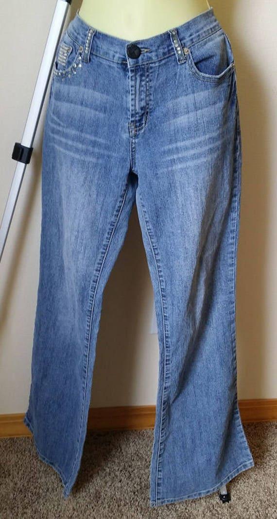 womens bedazzled blue jeans pants size 11 Medium rhinestones gems Vanilla jeans