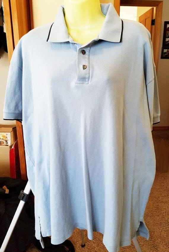 mens light blue shirt short sleeves golf polo sport collar neck size XL clothes