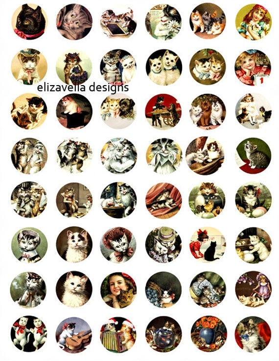 kitty cats kittens children digital download COLLAGe sheet 1 inch circles image graphics CLIPART vintage art craft papers printables