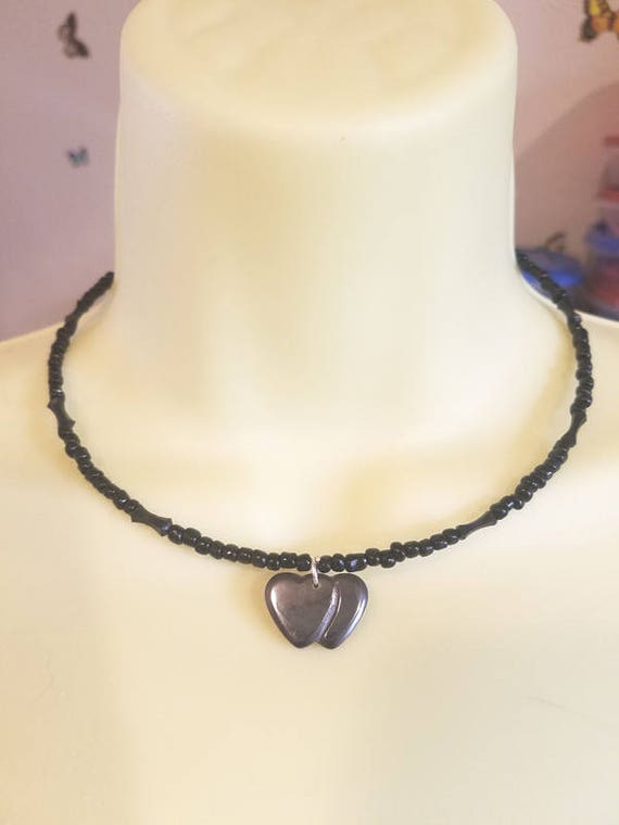 double black hearts beaded necklace heart stone pendant wire glass bead necklace handmade jewelry