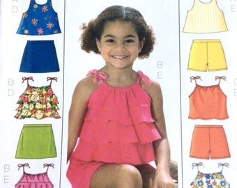 Butterick B4503 paper sewing pattern sizes 2-3-4-5 or 6-7-8, girls tops skort shorts, fun summer clothes, easy to sew, new uncut destash