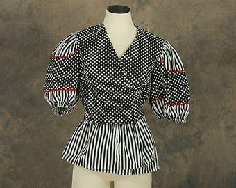 vintage 80s Wrap Blouse - 1980s Balloon Sleeve Blouse Stripes and Dots Peplum Blouse Sz M L