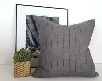 Grey Farmhouse Pillows, Rustic Pillows, 20x20, Gray Throw Pillow, Pillow Covers, Striped Pillow Case, Gray Cushion, Zipper, Farmhouse Decor