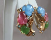 Vintage Trifari Pink, Blue, and Green Floral Clip-On Earrings