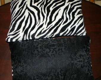 Pair of Black White Zebra Print Throw Pillows 17 x 11