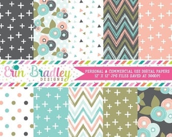 80% OFF SALE Bloom Digital Scrapbook Paper Pack Personal & Commercial Use Digital Papers