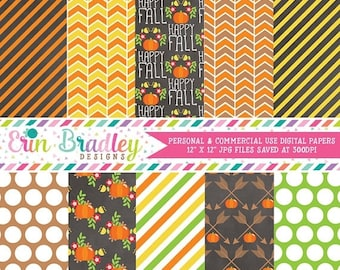 80% OFF SALE Fall Floral Digital Papers Stripes Pumpkins Polka Dotted Autumn Digital Paper Pack in Orange Yellow & Green Commercial Use OK