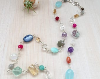 Colorful Mixed Gemstone Necklace