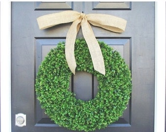 SUMMER WREATH SALE Artificial Boxwood Wreath- Summer Wreath- Wedding Wreath- 20 inch Artificial Boxwood Wreath- Burlap Ribbon- Christmas Wre