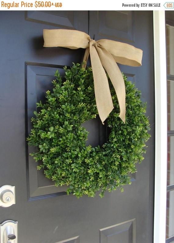 SUMMER WREATH SALE Thin Boxwood Wreath- Fall Door Wreath- Artificial Boxwood- Spring Wreath- Wall Art- Wedding Wreath- Wedding Decor- Floral