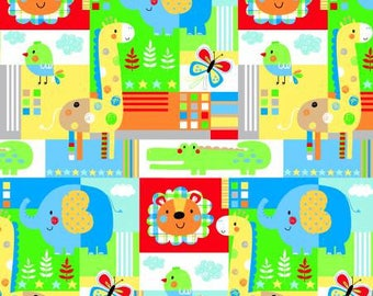 Children's Fabric, Zoo Mates Cotton Flannel Multi Animal by Henry Glass 43-44 inches wide