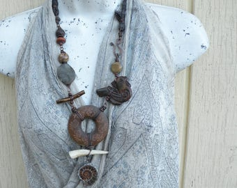 Bold Tribal Necklace, Ammonite Pendant, Earthy Statement Necklace, Stone and Silk, Wood and Bone, Handmade