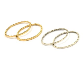 Silver / Gold Oval Ring , 12 Antique Silver - Gold Plated Brass Oval Faceted Ring, Connector, Charms (26x16x1.20mm) N532