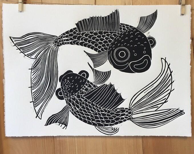 Goldfish, koi fish, gold ink, asian inspired, woodcut print, block print, original art by Jenny Pope, modern wall art, contemporary animal