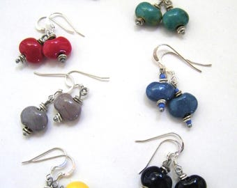 Sterling Kazuri earrings - clip option -stud post option - primary colors - opaque - Fair Trade certified beads