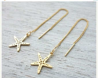 On Sale 40% off, Starfish Chain Earrings, dangle earrings, underwater jewelry