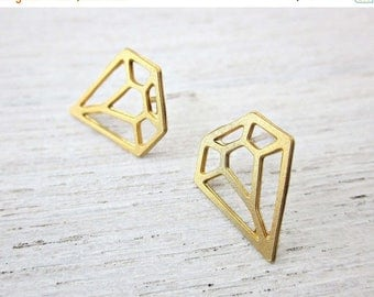 On Sale 40% off, Diamond Post Earrings in Gold