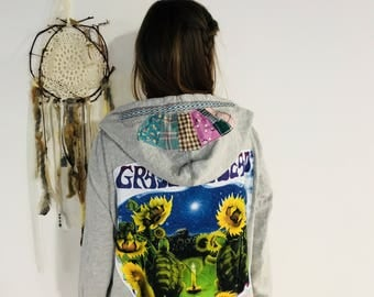 Grateful Dead Terrapin Station Upcycled Patchwork Zip up Sweater Hoodie Sweatshirt Festival Womens Size XL