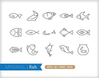 Minimal fish line icons | EPS AI PNG | Geometric Animal Clipart Design Elements Digital Download