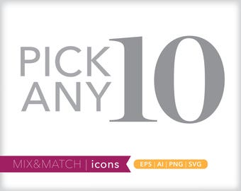 Pick any ten minimal line icons | EPS AI PNG | Geometric Clipart Design Elements Digital Download