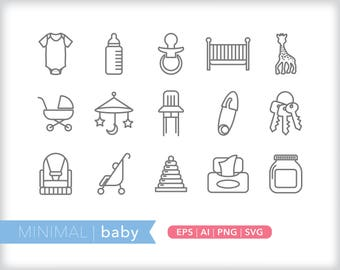 Minimal baby line icons | EPS AI PNG | Shower Clipart Design Elements Digital Download
