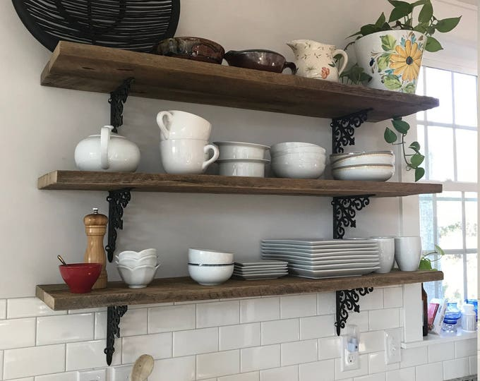 3 Extra long barn wood farmhouse kitchen shelves reclaimed industrial hanging shelf display wall art interior design BeachHouseDreamsHomeOBX