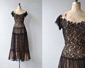 Suzy Perette dress | vintage 1950s dress | black lace illusion 50s dress