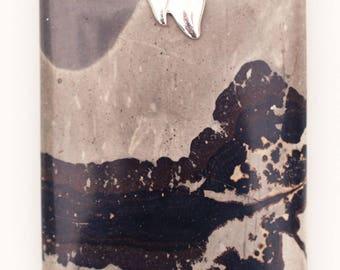 Chohua Jasper aka Chinese Painting Jasper Rectangular-Shaped Pendant for Healthy Detachment