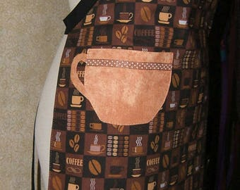 Apron Coffee Cup pocket chef style adjustable lined top stitched cotton ribbon trim brown black beige tan coffee beans cafe barista humorous