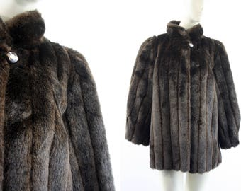 Mariel Brand Made in USA Chocolate Brown Woman's Mid Length Faux Fur Coat