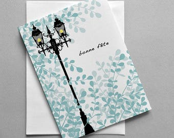French birthday card, Bonne fête, Shoe, For her, For him, Post lamp