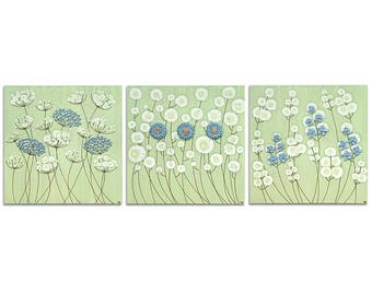 Large Flower Wall Art Set of Three Canvases - Green and Blue Textured Painting - Extra Large 62x20