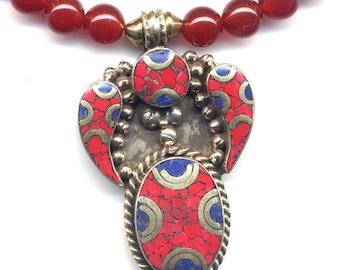 Nepal Necklace, Tibet Coral Lapis Lazuli Necklace with Pendant, Carnelian Onyx Nepal Necklace, Statement Handmade Nepal Jewelry by AnnaArt72