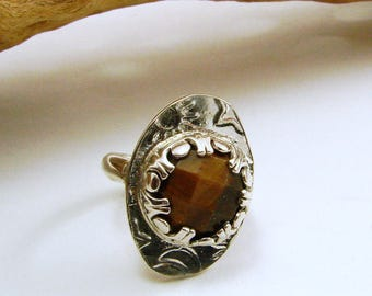 Sterling Silver and Faceted Tiger Eye Ring - Size 4 - Resizeable
