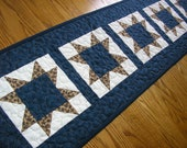 Quilted Table Runner, Navy Blue and Brown Table Runner, Quilted Stars Runner, 13 x 48 inches