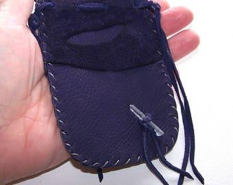 Leather Medicine Bag..PURPLE
