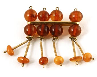 Russian Amber Bead Dangle Vintage Pin - 5RK Mark - Honey Butterscotch - Deco Style - Hey Viv Vintage