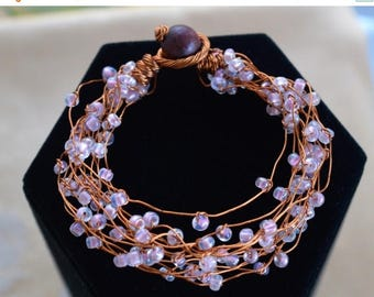 On sale Pretty Vintage Clear Glass Beaded, Copper Wire Wrap Bracelet,  Small (AM8)
