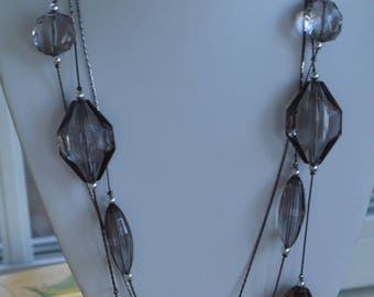 Gray Faux Crystal Beaded Triple-Strand Necklace, Silver tone, Vintage (AF14)
