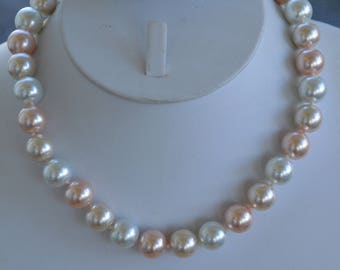 "Pastel Pink, Blue Gray, Ivory Glass Faux Pearl Necklace, 12mm, Vintage, 15-1/2""-19"" (B8)"