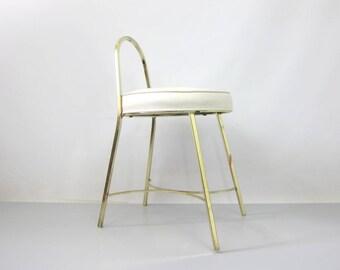 Vintage Vanity Chair Gold Tone Metal Boudoir Hollywood Regency Makeup Chair  White Cushion Top Bedroom Chair