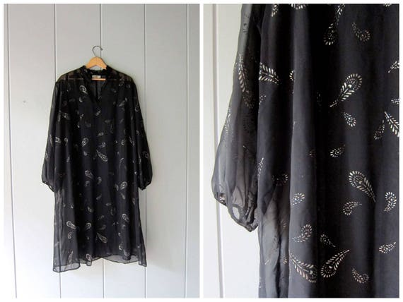 Vintage 70s Caftan Dress Sheer Black Loose Fit Summer Dress Glitter Print Slouchy Vacation Resort Lounge Beach Tent Dress Boho Womens OSFM