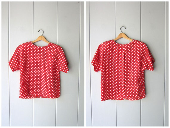 Polka Dot Top Colorful Print Blouse 80s Short Sleeve Red Blue White Graphic Abstract Blouse Boxy Tee Slouchy Mod Top Womens Medium