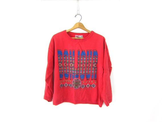 Red BONJOUR vintage sweatshirt slouchy southwestern sweatshirt 90s retro Hipster Sweater Bon Jour Top Women's One Size OSFM Medium Large
