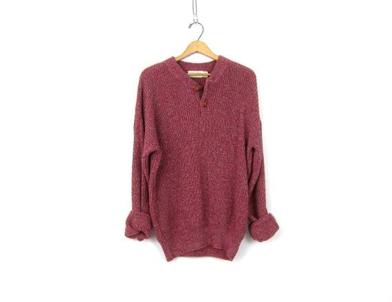 Oversized Berry Red Sweater Button Up Henley Slouchy Boyfriend Pullover Cotton Speckled Knit Sweater Chunky Sweater Mens Large
