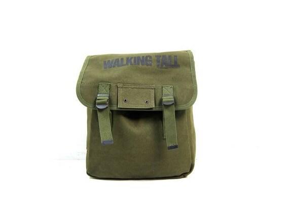 Vintage Army Green Rucksack Outback Outdoors Camping Backpack Messenger bag Green Cotton Canvas Grunge Pack Punk Hipster Shoulder Bag Unisex