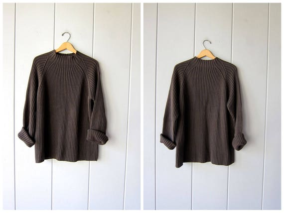 Chunky Cotton Sweater Army Green Oversized Ribbed Knit Sweater Oversized Mock Neck Sweater Grunge Rib Knit Boho Jumper Top Mens Large