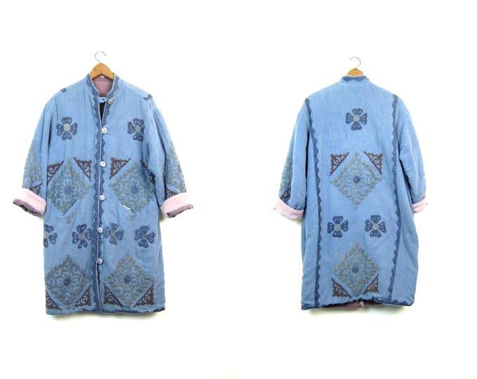 Indian Jacket Vintage Cotton Coat REVERSIBLE Embroidered Coat Colorful Kantha Tribal Patchwork Jacket LONG DUSTER Floral Womens Medium Large