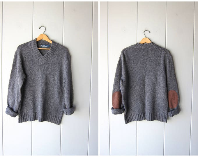 Elbow Patches Polo Sweater Cotton Grey Pullover Oversized Gray Sweater Basic V Neck Sweater Preppy Boyfriend Pullover Mens Large